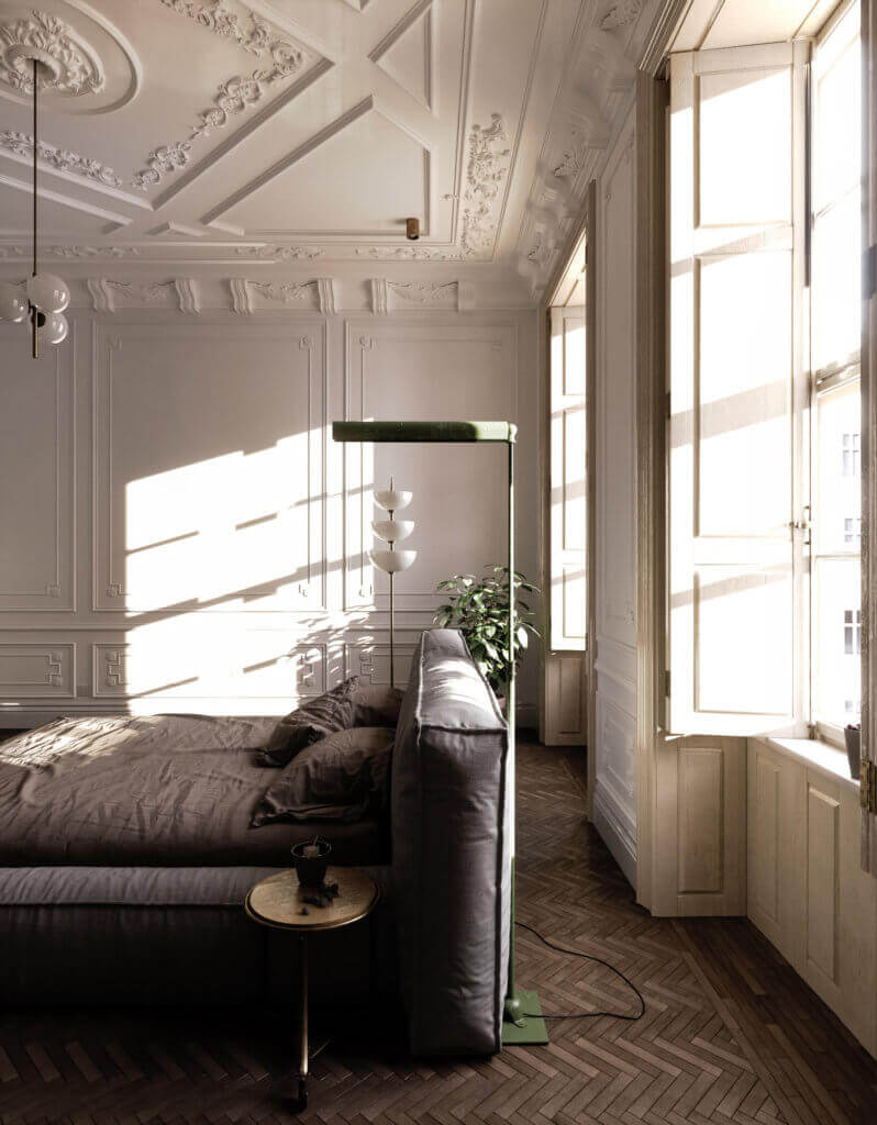 Elegant kitchen & Living design bedroom inspo - cgi visualization