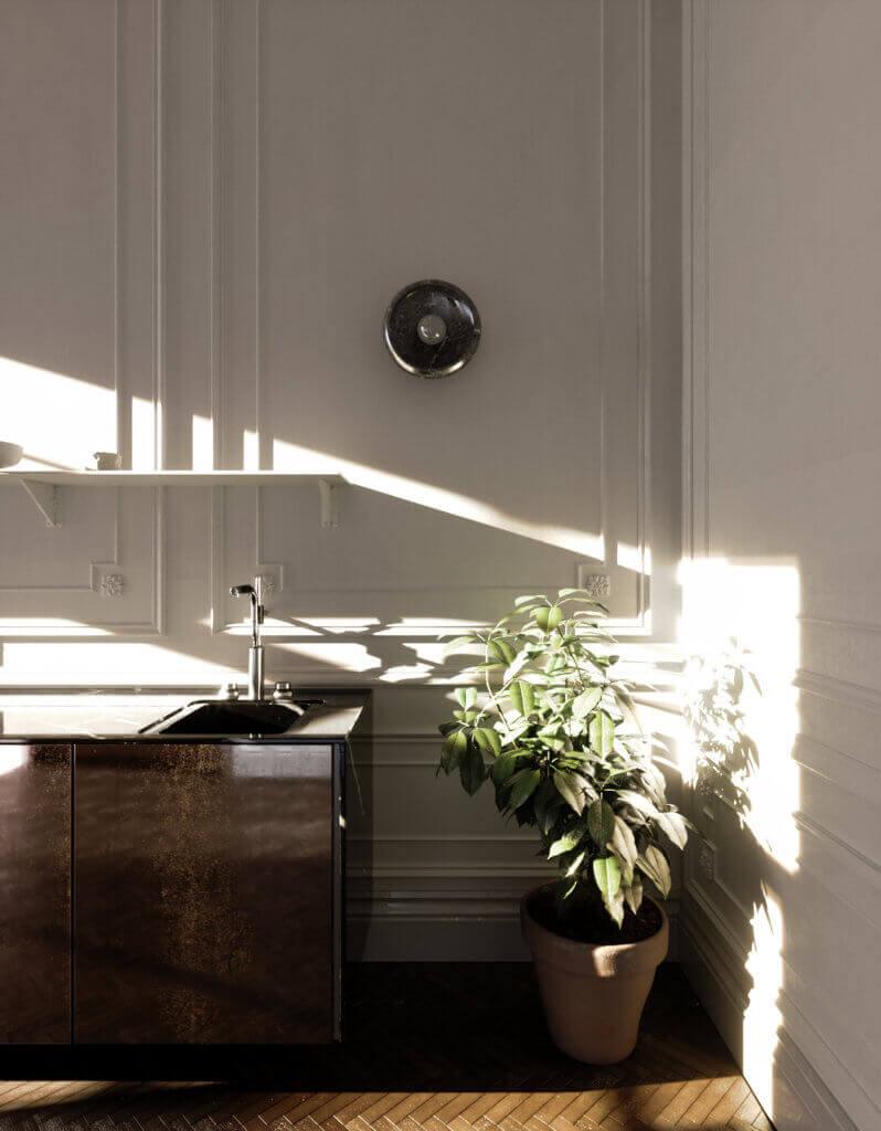 Elegant kitchen & Living design classic - cgi visualization