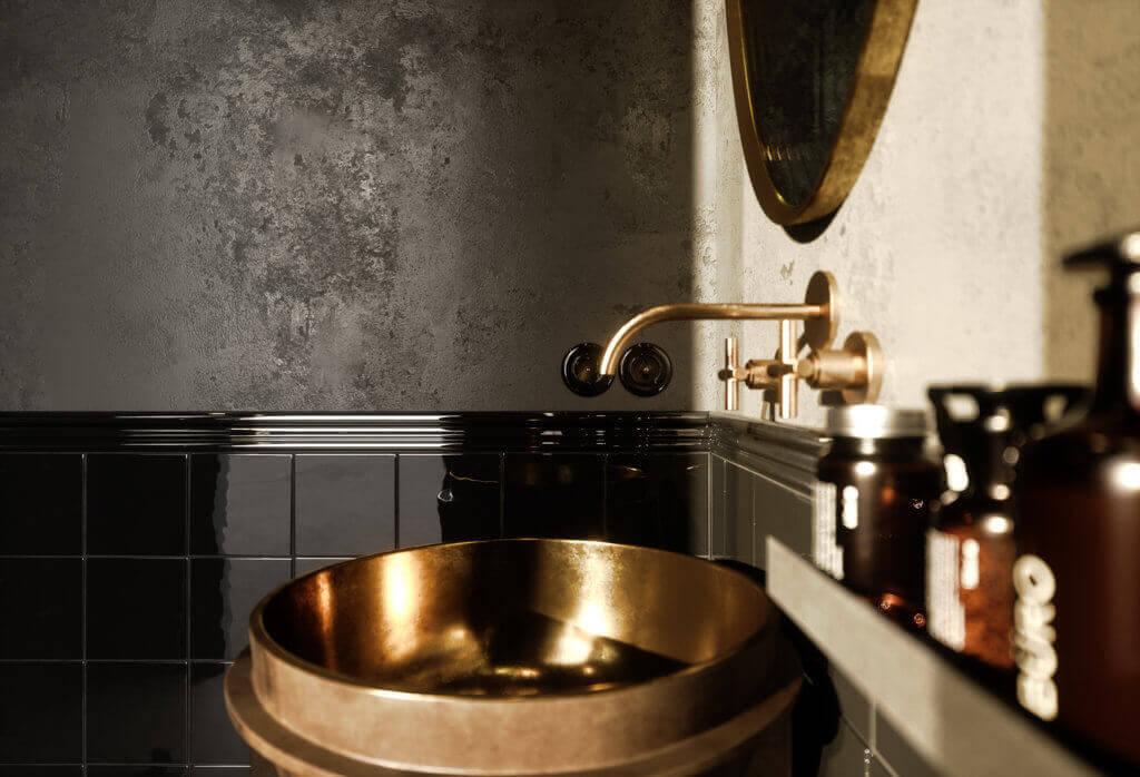 Elegant kitchen & Living design copper mixer sink bathroom - cgi visualization