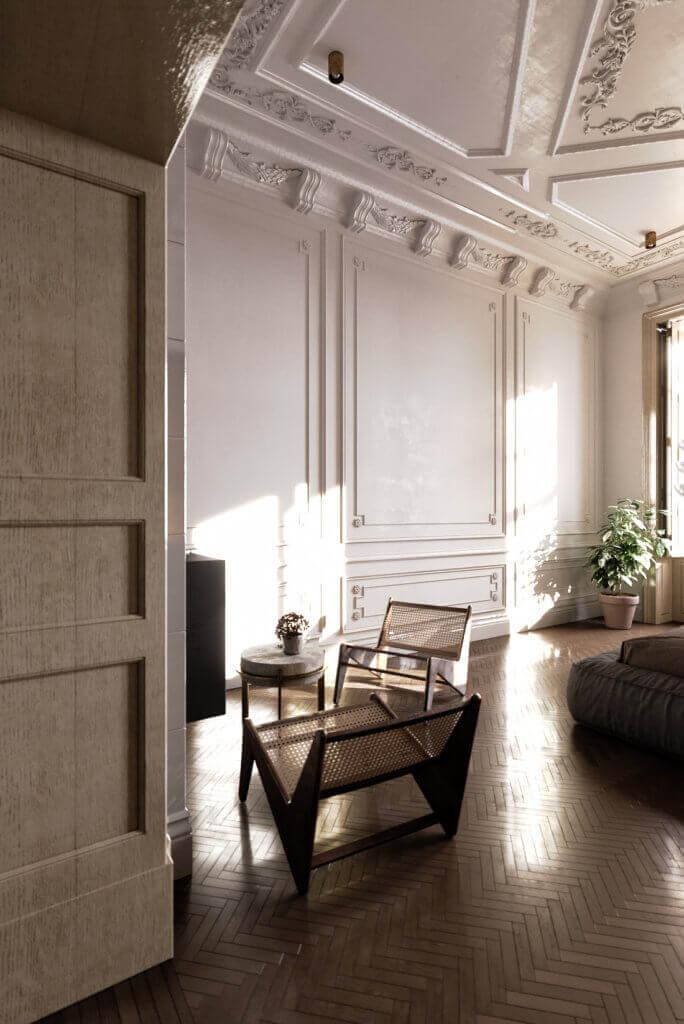 Elegant kitchen & Living design lounge area - cgi visualization