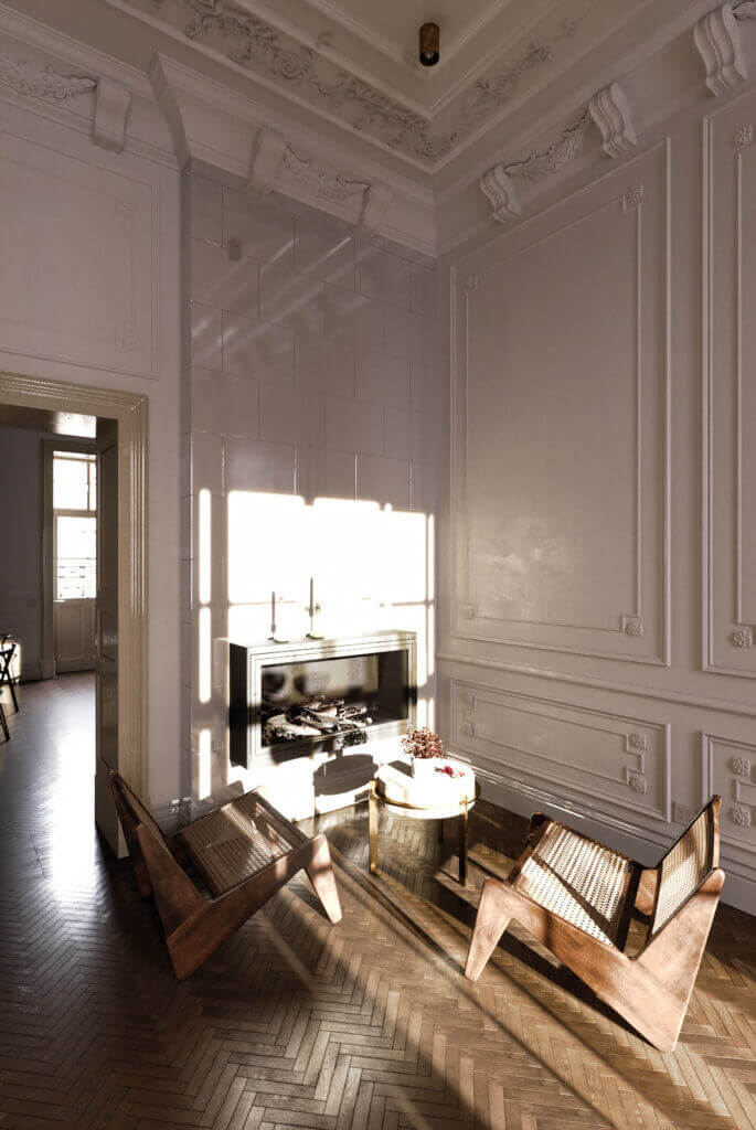 Elegant kitchen & Living design lounge area seater - cgi visualization