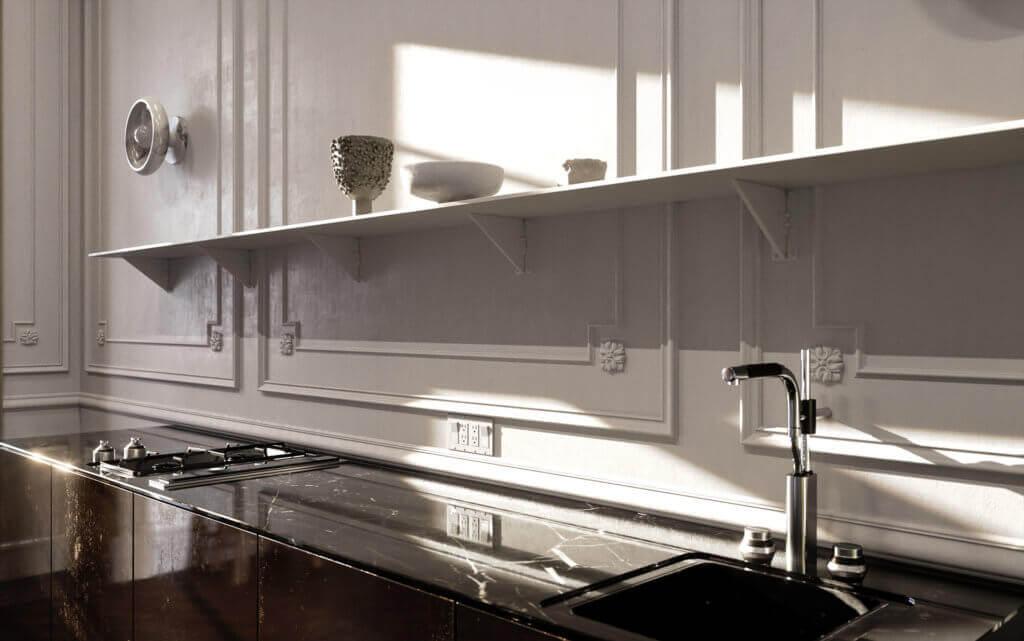 Elegant kitchen & Living design marble kitchen top - cgi visualization