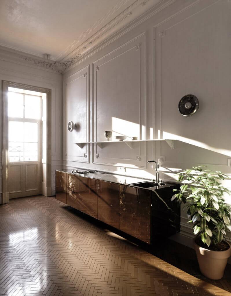 Elegant kitchen & Living design marble steel - cgi visualization