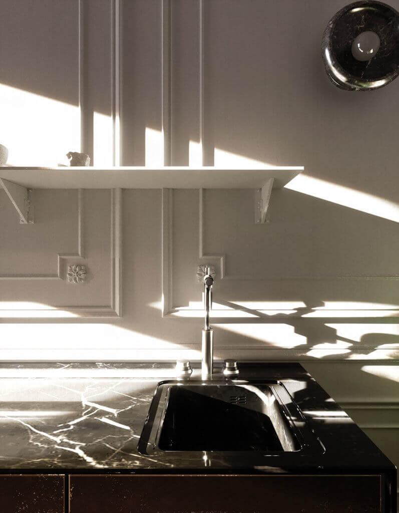 Elegant kitchen & Living design sink mixer marble black - cgi visualization