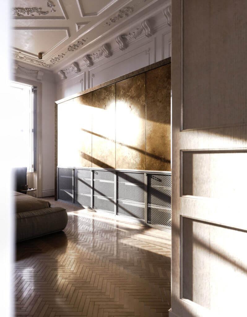 Elegant kitchen & Living design wall cabinet tv - cgi visualization