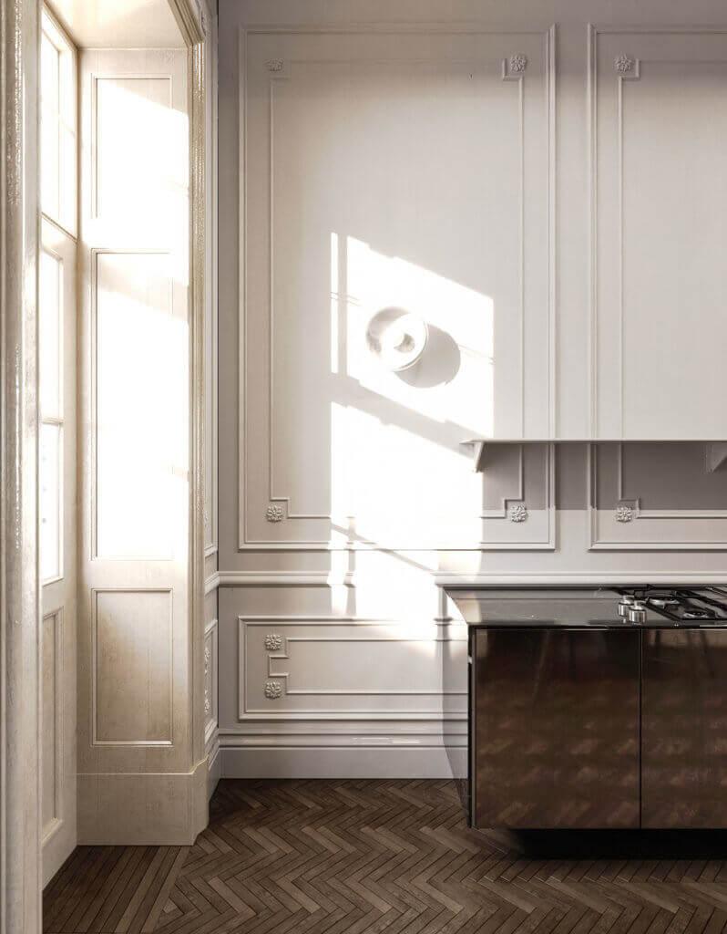 Elegant kitchen & Living design white wall classic - cgi visualization