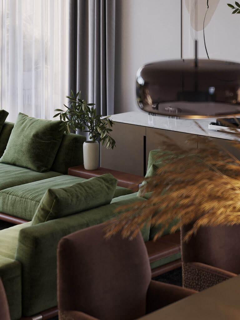 Green Apartment Designer Living & Kitchen Acessoires - cgi visualization