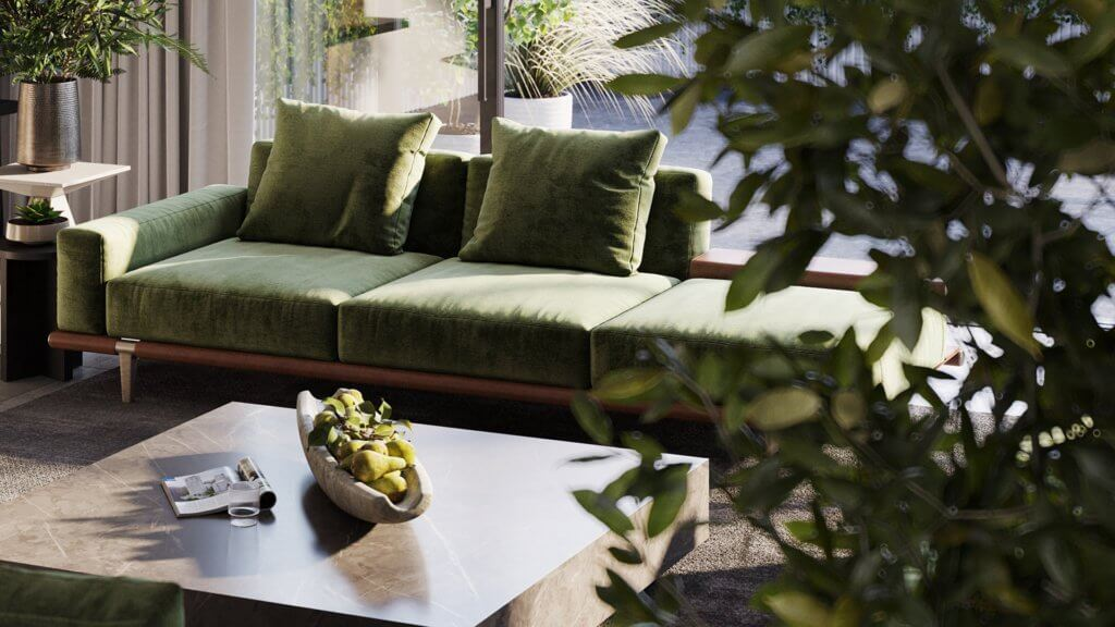 Green Apartment Designer Living & Kitchen area - cgi visualization