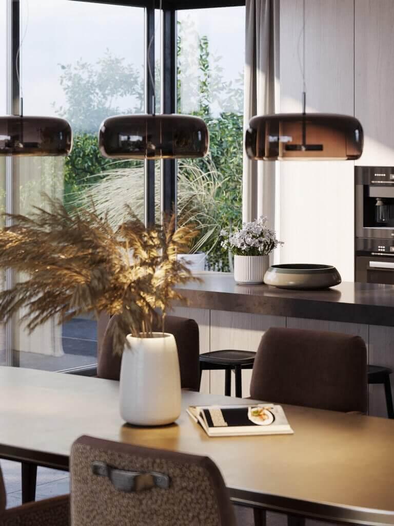 Green Apartment Designer Living & Kitchen dining area - cgi visualization