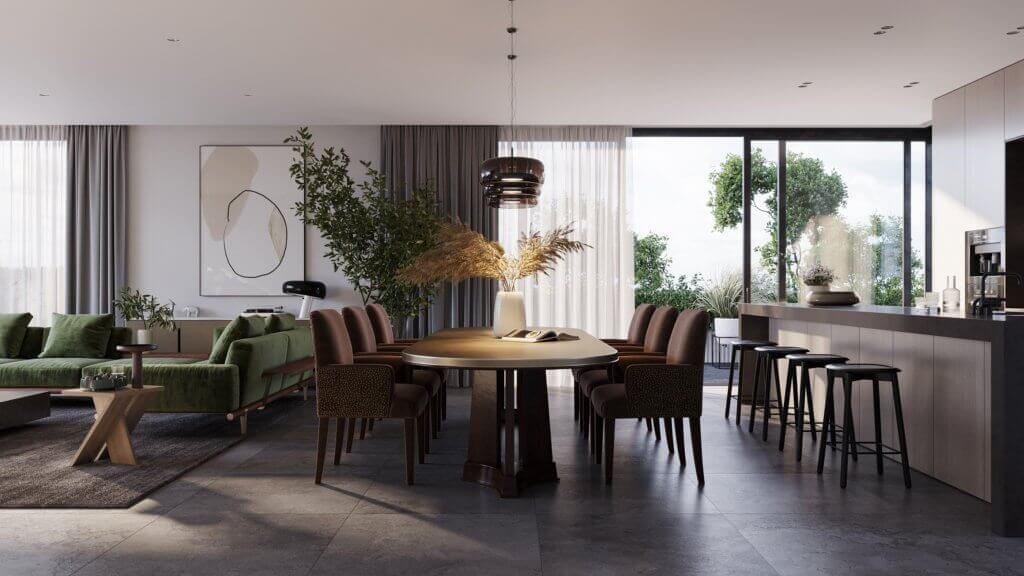 Green Apartment Designer Living & Kitchen dining inspiration - cgi visualization
