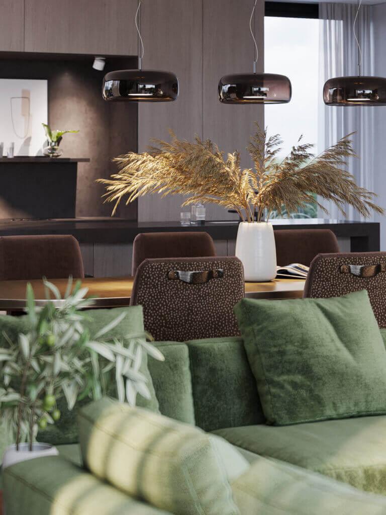 Green Apartment Designer Living & Kitchen dining table wood - cgi visualization