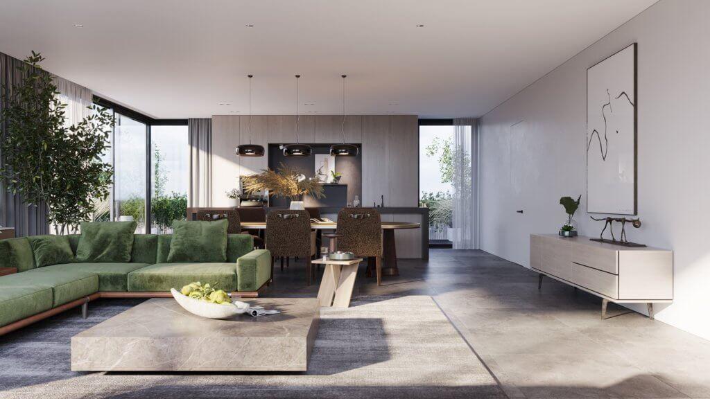 Green Apartment Designer Living & Kitchen inspiration - cgi visualization