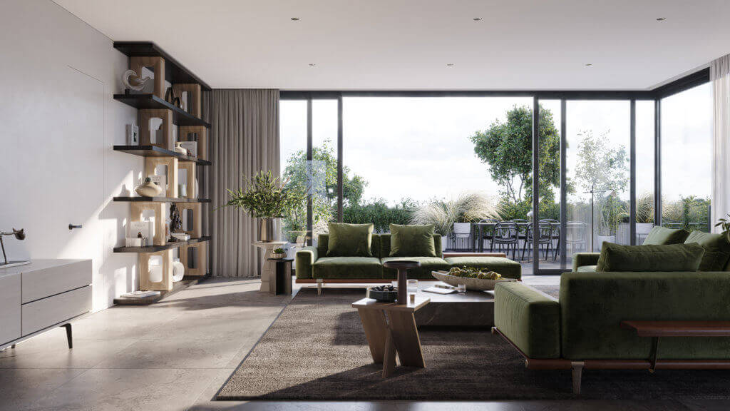 Green Apartment Designer Living & Kitchen open design - cgi visualization