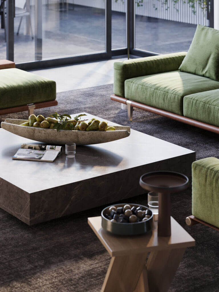 Green Apartment Designer Living & Kitchen side table - cgi visualization