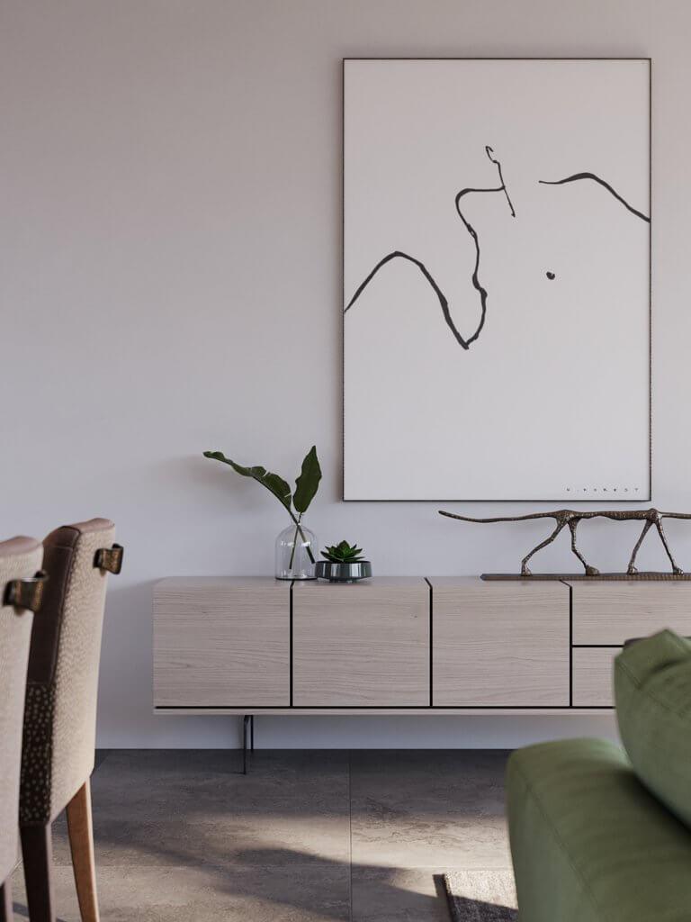 Green Apartment Designer Living & Kitchen sideboard wood - cgi visualization