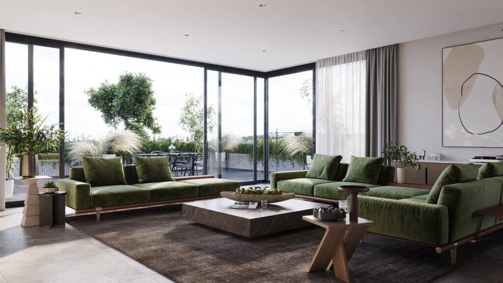 Green Apartment Designer Living & Kitchen sofa - cgi visualization