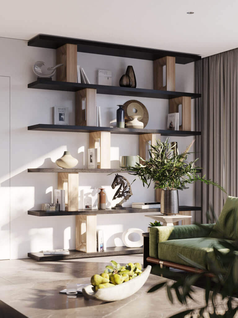 Green Apartment Designer Living & Kitchen wall book shelf - cgi visualization