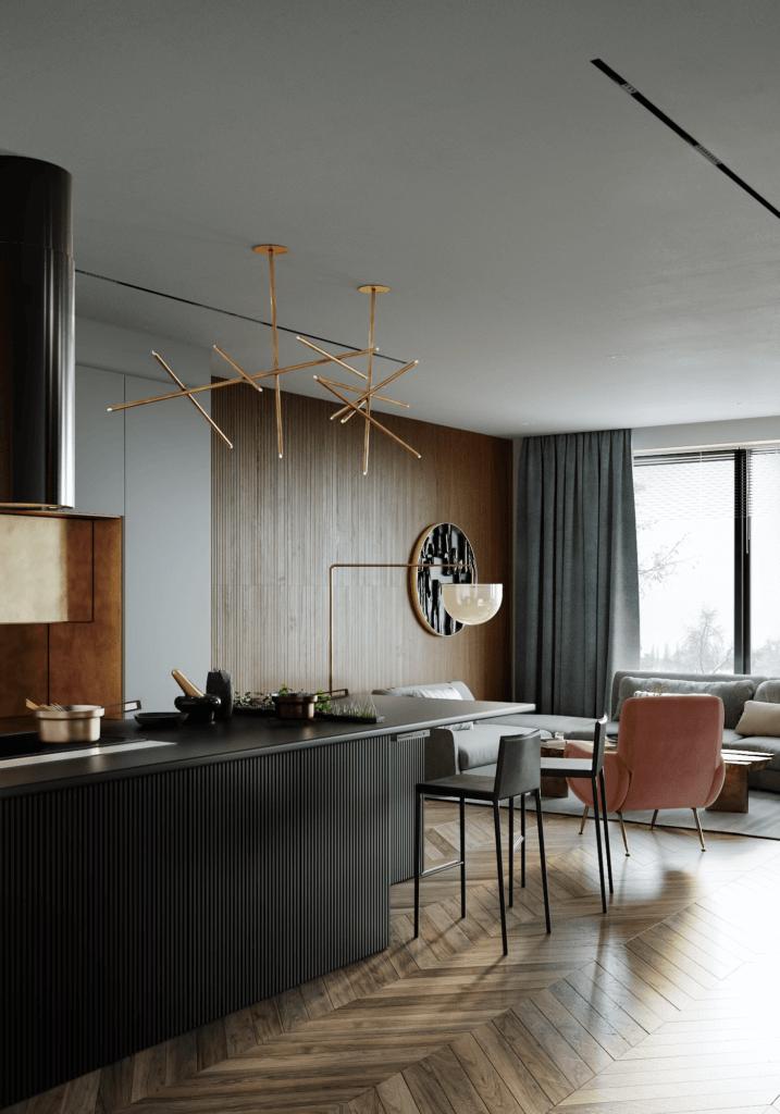 LA Pari Living & Kitchen Apartment - CGI Visualization(3)