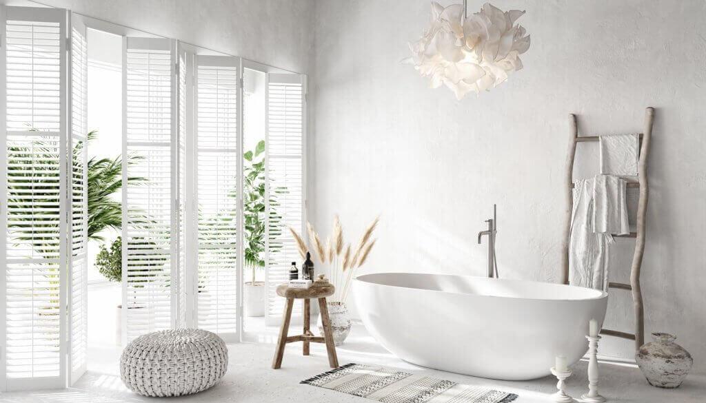 Perfect & lovely white Bathroom design bathtub - cgi visualization