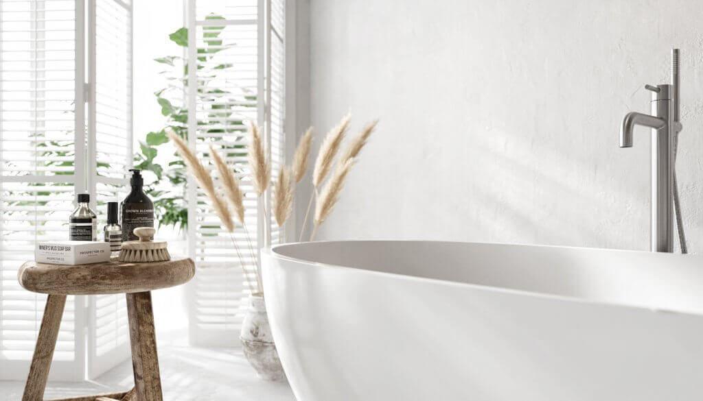 Perfect & lovely white Bathroom design bathtub mixer - cgi visualization