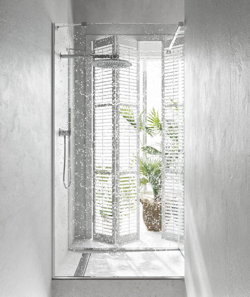 Perfect & lovely white Bathroom design shower glass - cgi visualization