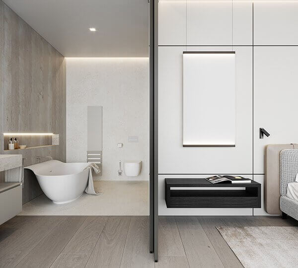 Stylish Villa Interior & Living Design bathroom guest - cgi visualization