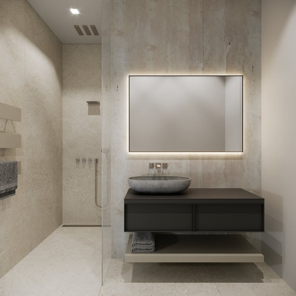 Stylish Villa Interior & Living Design bathroom guest mirror led - cgi visualization