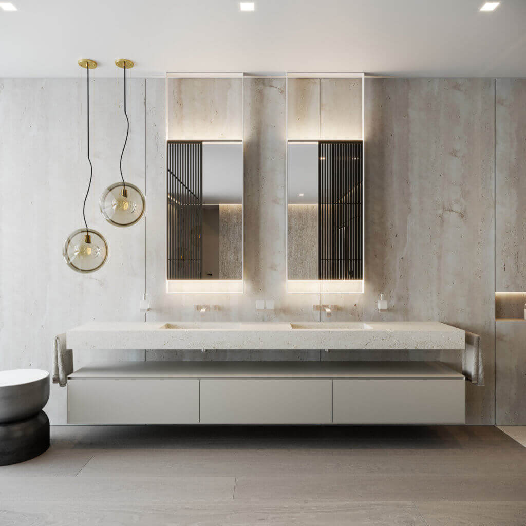 Stylish Villa Interior & Living Design bathroom master - cgi visualization