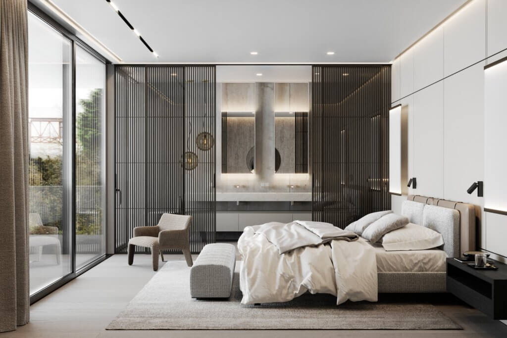Stylish Villa Interior & Living Design bedroom guest - cgi visualization