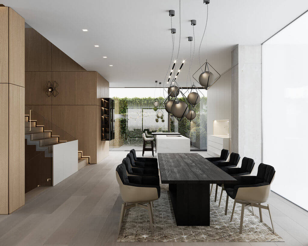 Stylish Villa Interior & Living Design dining area pendant lamp designer - cgi visualization