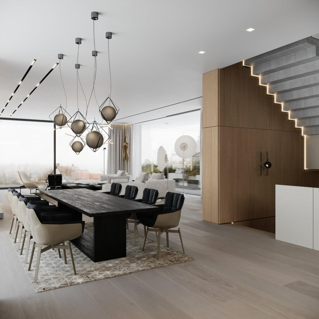 Stylish Villa Interior & Living Design dining area wood table - cgi visualization