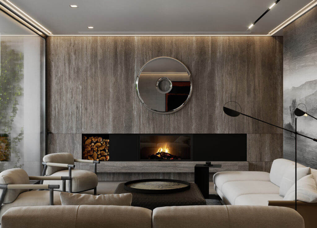 Stylish Villa Interior & Living Design living area fireplace - cgi visualization