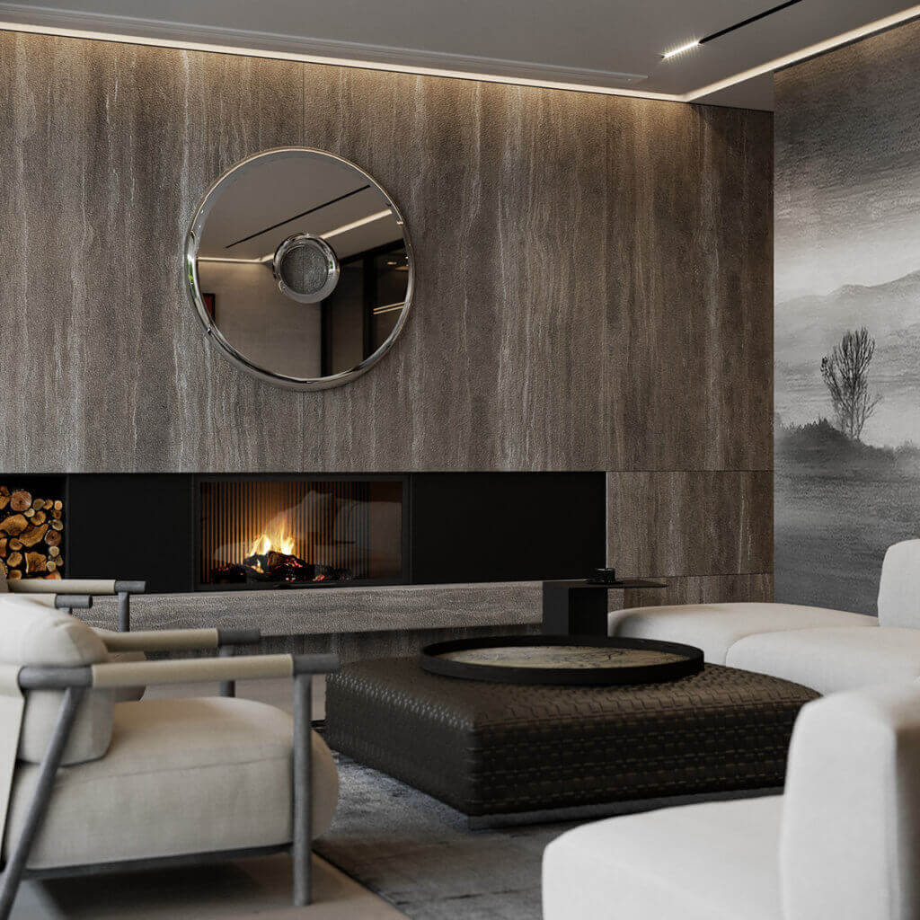 Stylish Villa Interior & Living Design living area fireplace guest - cgi visualization