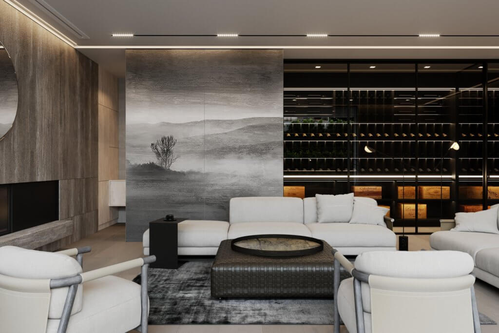 Stylish Villa Interior & Living Design living area wine cabinet - cgi visualization