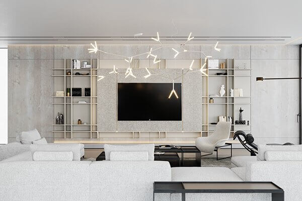 Stylish Villa Interior & Living Design living pendant lamp tv wall - cgi visualization