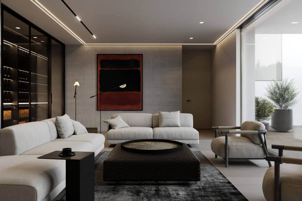Stylish Villa Interior & Living Design living room guest house - cgi visualization