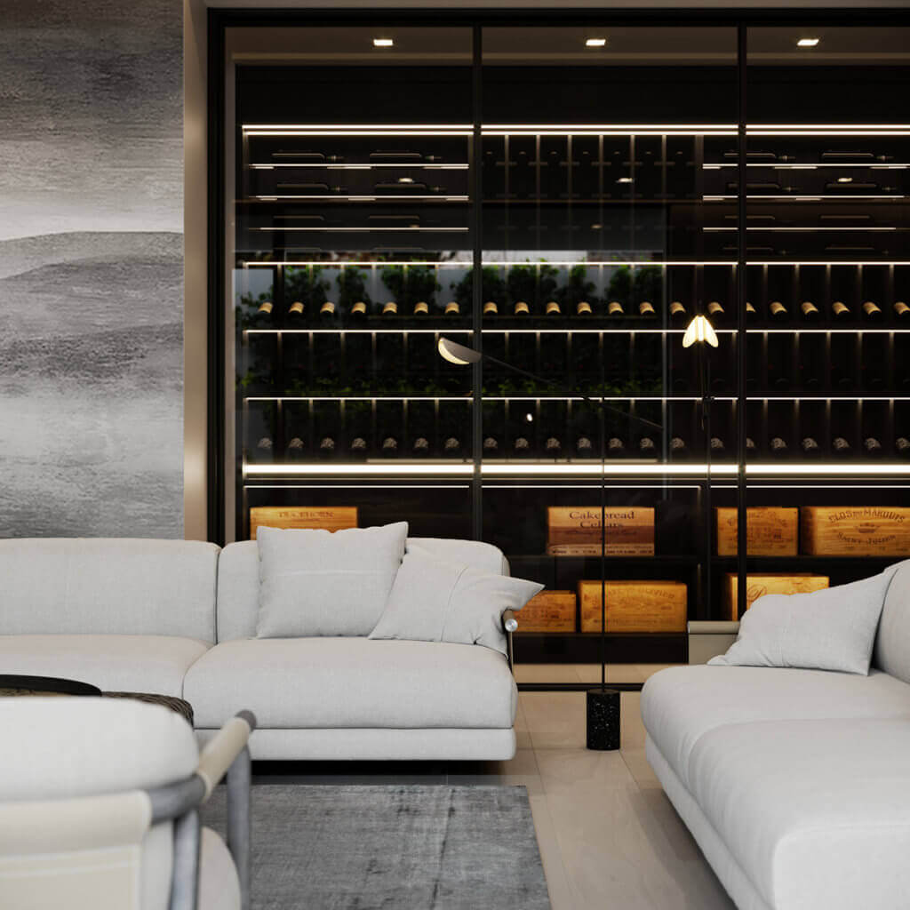Stylish Villa Interior & Living Design living wine area - cgi visualization