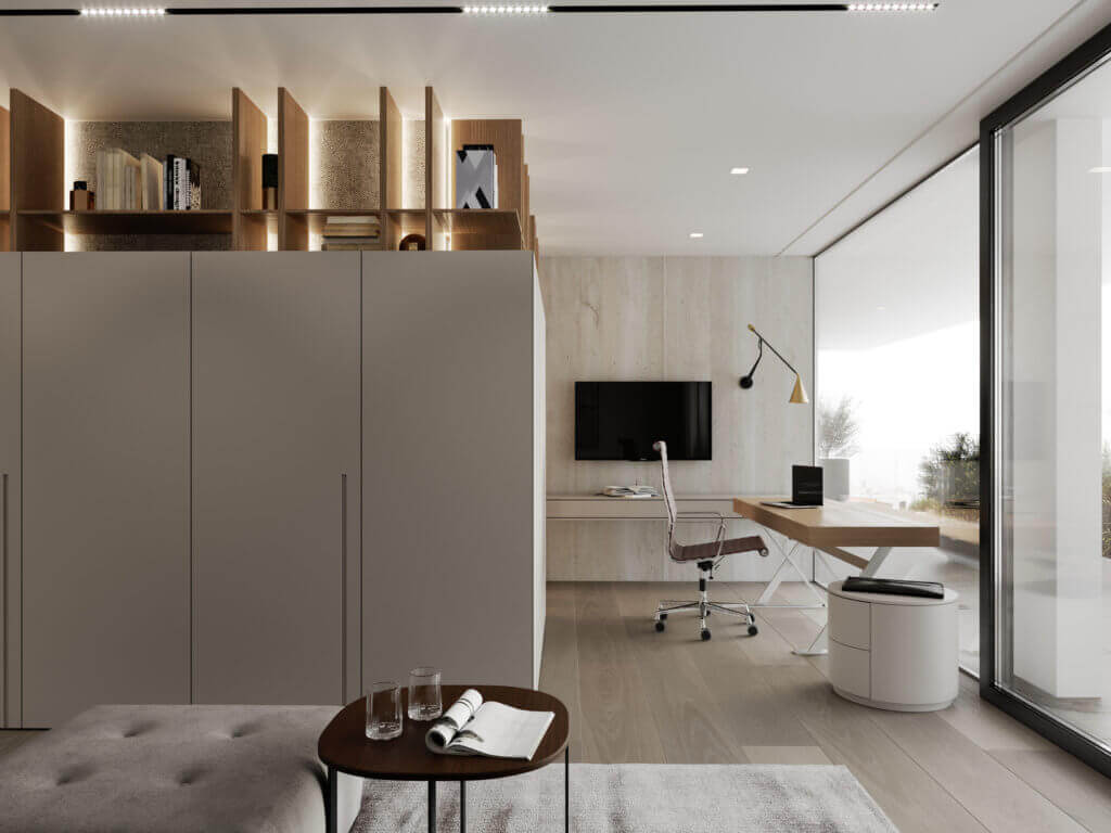 Stylish Villa Interior & Living Design office area - cgi visualization