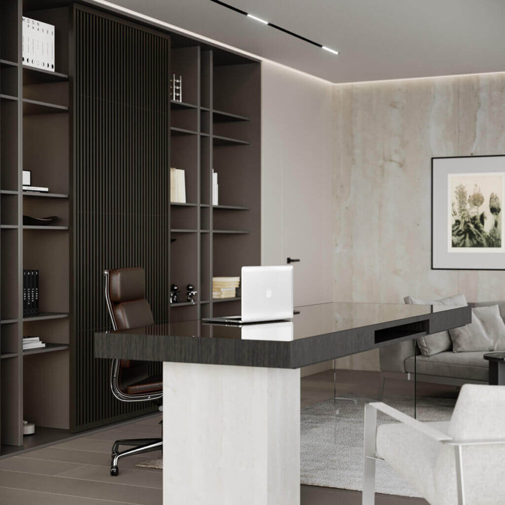 Stylish Villa Interior & Living Design office wood desk - cgi visualization