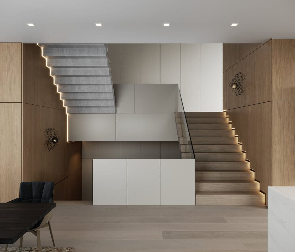 Stylish Villa Interior & Living Design staircase led - cgi visualization