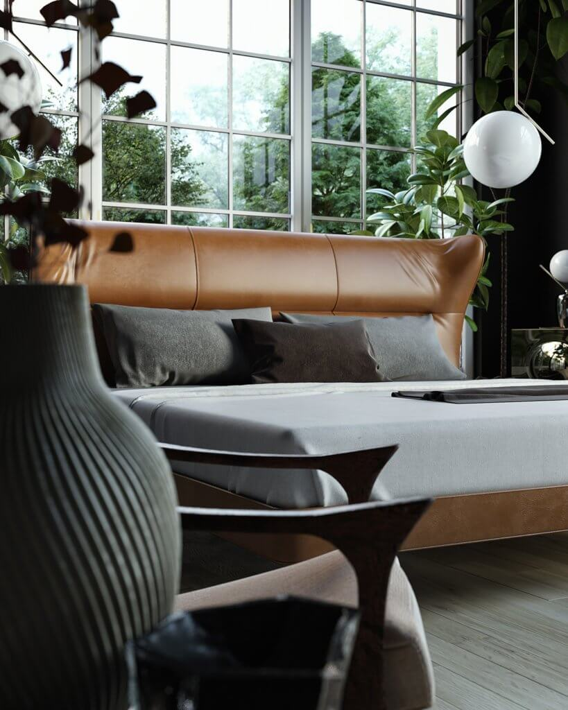 Trendy Bedroom Inspiration leather bed - cgi visualization