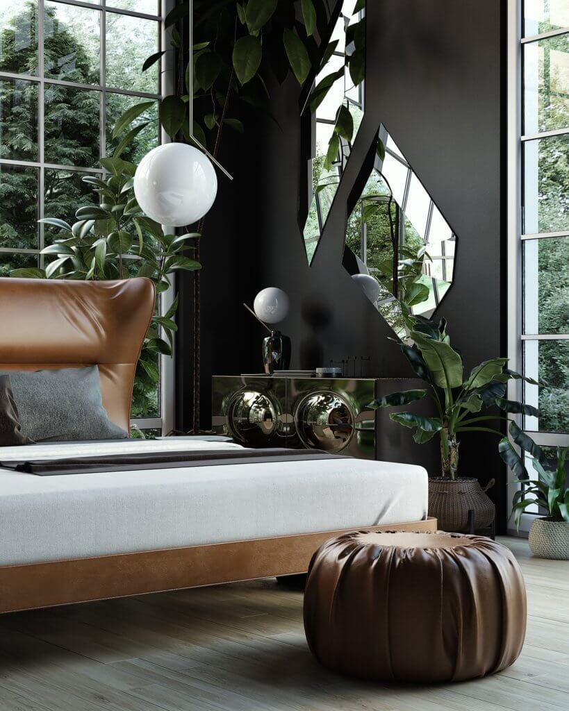 Trendy Bedroom Inspiration pouf leather - cgi visualization
