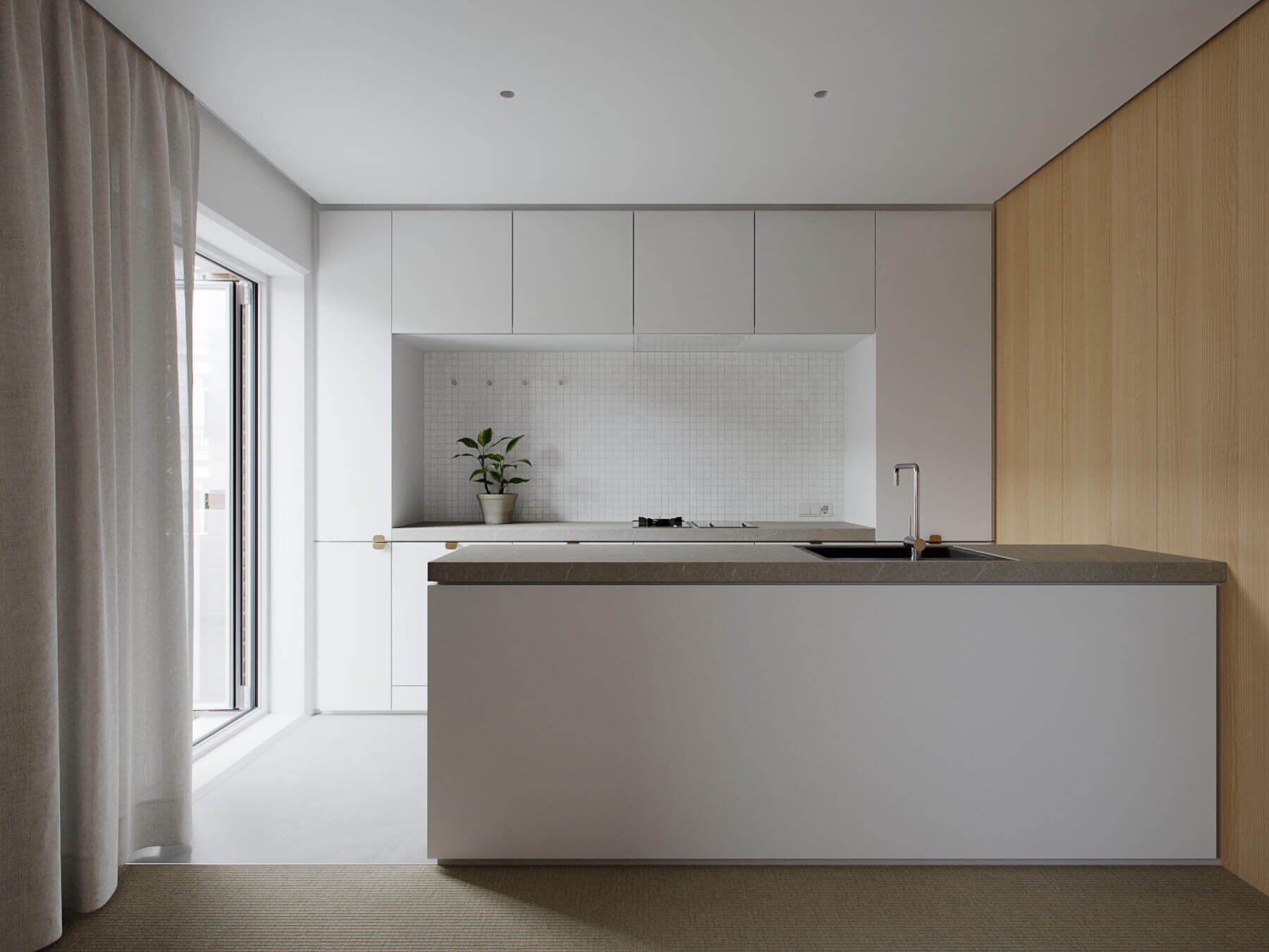 Trendy Living & Kitchen apartment design - cgi visualization