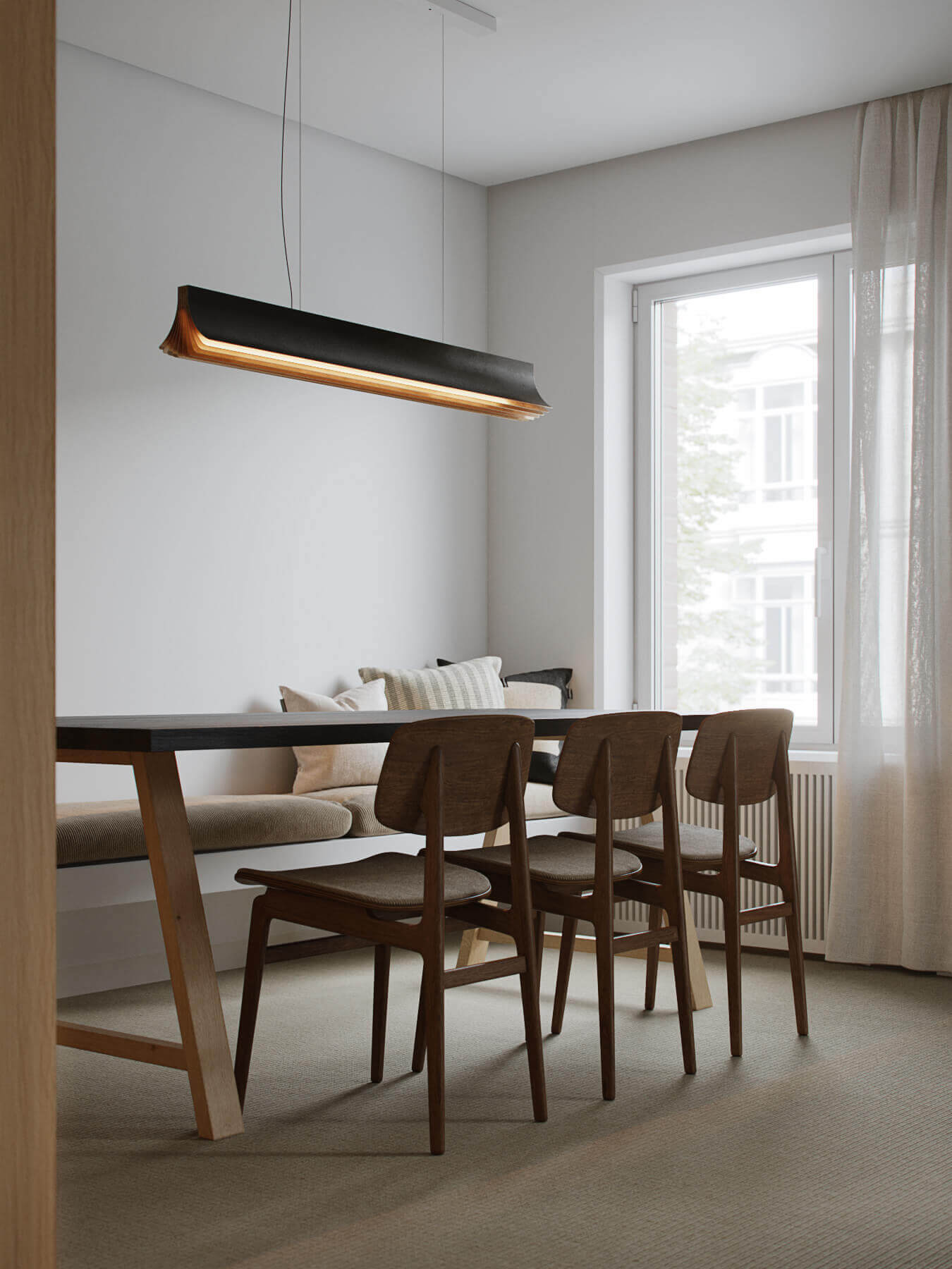 Trendy Living & Kitchen apartment dining room - cgi visualization