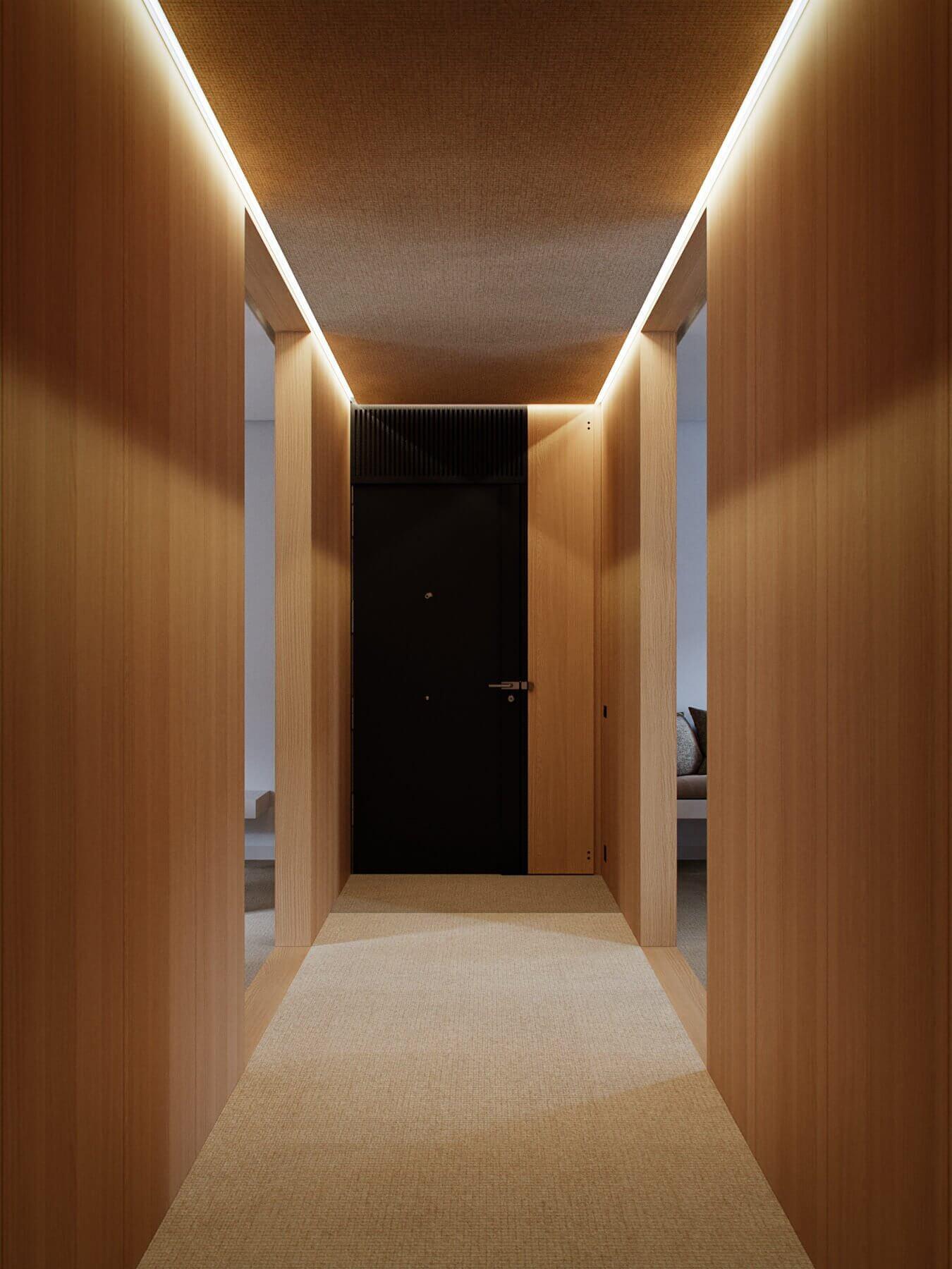 Trendy Living & Kitchen apartment entrance area - cgi visualization