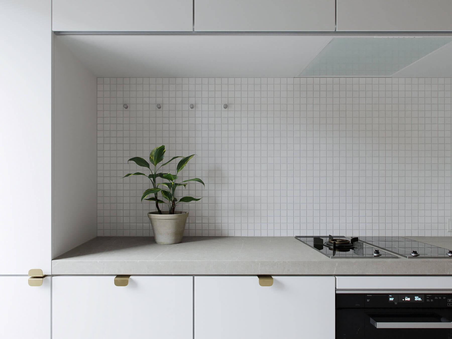 Trendy Living & Kitchen apartment stone top kitchen block - cgi visualization