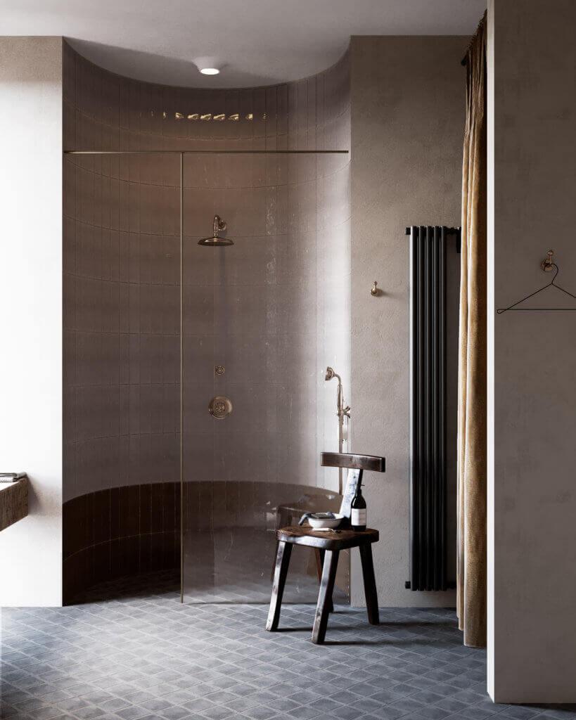 Warsaw top penthouse design bathroom glass shower - cgi visualization