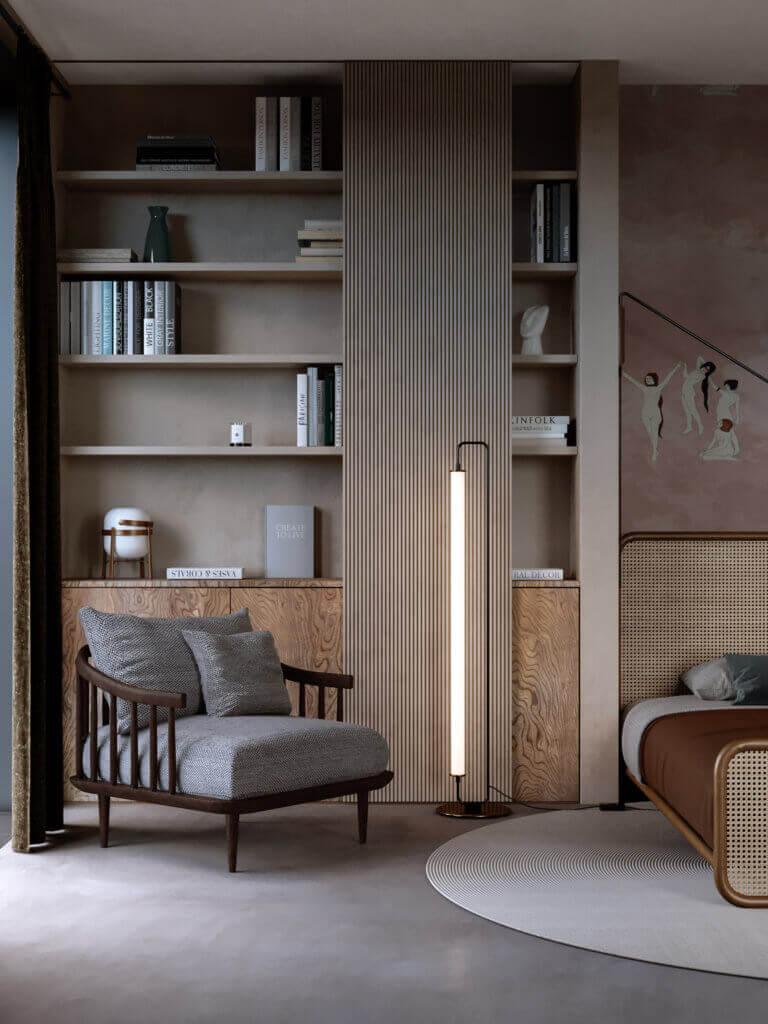 Warsaw top penthouse design bedroom lounge area - cgi visualization