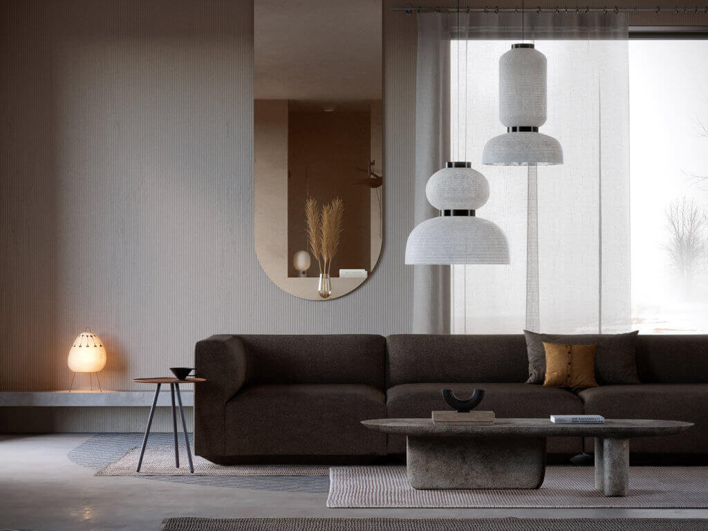 Warsaw top penthouse design couch brown living - cgi visualization