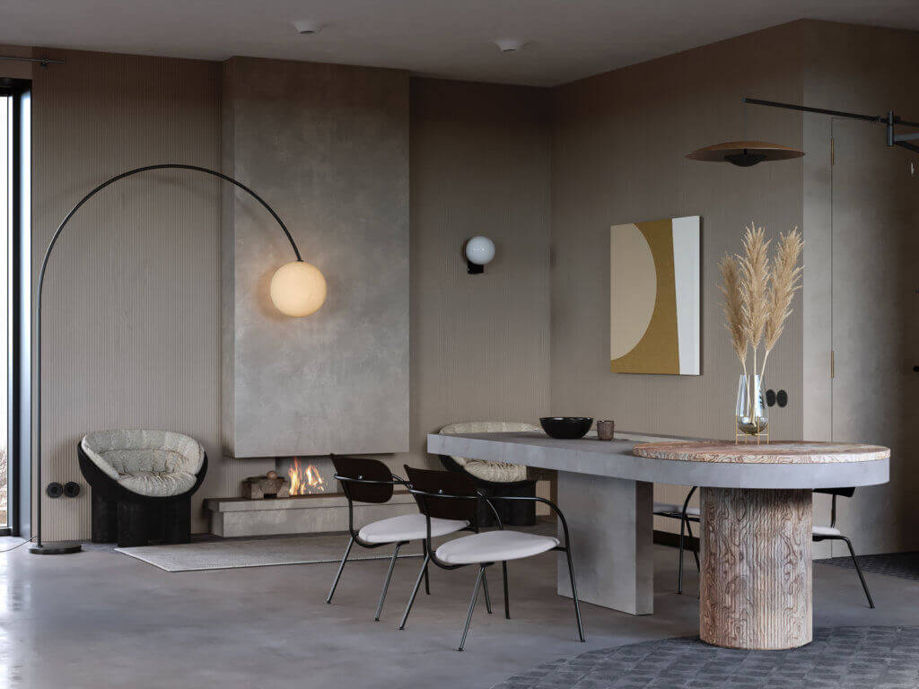 Warsaw top penthouse design dining table concrete - cgi visualization